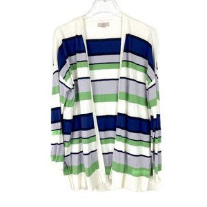 LOFT Outlet Open Front Striped Cardigan Sweater